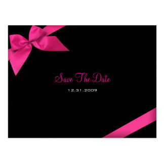 Pink Ribbon Wedding Save the Date Announcement Postcard