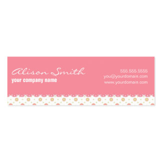 Pink ribbon with daisies business card template