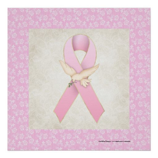 Pink Ribbon with Dove Beautiful Print