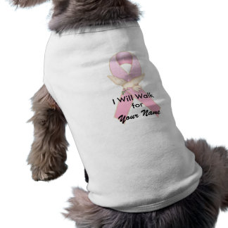 Pink Ribbon with Dove ~ Customizable Doggie Tee