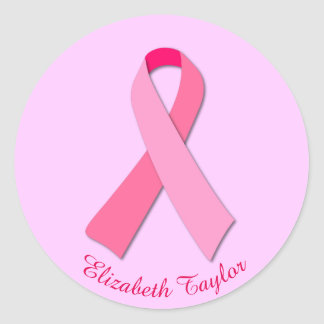 Pink Ribbon with Editable Custom Curved Text Classic Round Sticker