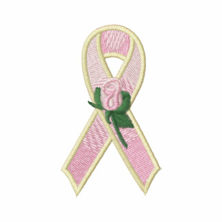 Pink Ribbon with Rose Breast Cancer Awareness Embroidered Shirt