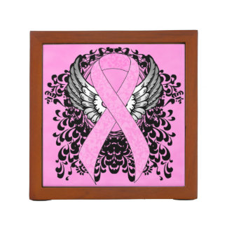 Pink Ribbon with Wings Desk Organiser