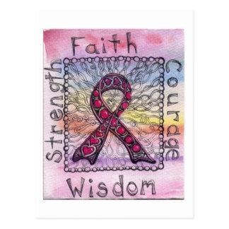 Pink Ribbon Zentangle Postcard Breast Cancer