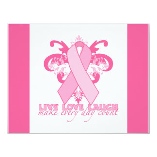 "Pink Ribbons Every Day 4.25"" X 5.5"" Invitation Card"