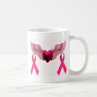 Pink Ribbons & Heart of Love & Support Basic White Mug