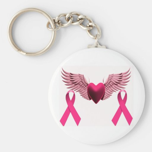 Pink Ribbons & Heart of Love & Support Keychain