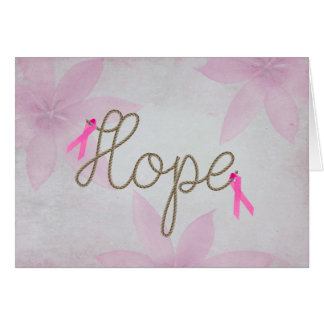 pink ribbons on rope text card