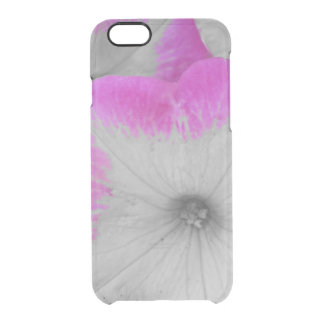 Pink Rimmed black and white petunias Clear iPhone 6/6S Case
