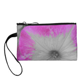 Pink Rimmed black and white petunias Coin Purses