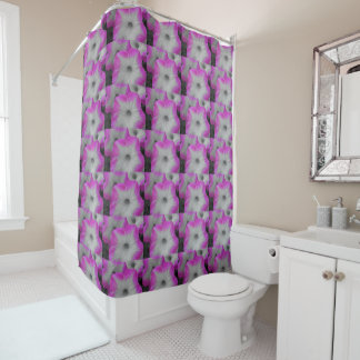 Pink Rimmed black and white petunias Shower Curtain