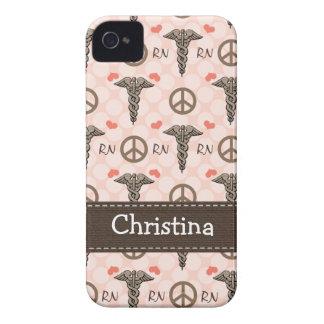 Pink RN Nurse Caduceus iPhone 4 4s Case-Mate Cover
