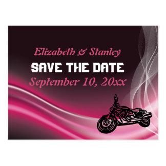 Pink road biker wedding Save the Date postcard