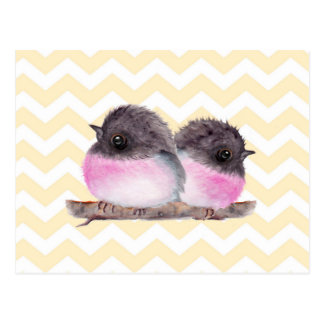Pink robins baby birds yellow chevron pattern post card