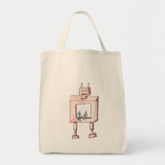 Pink Robot and Buddies Grocery Tote