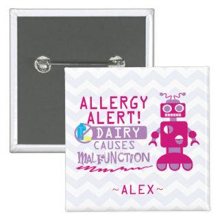 Pink Robot Dairy Allergy Alert Button