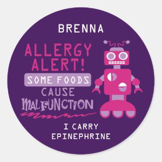 Pink Robot Food Allergy Alert Stickers