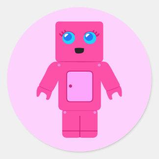 Pink Robot Round Sticker