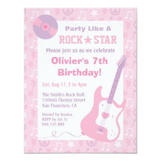 Pink Rock Star Girls Birthday Party Invitations