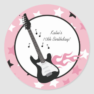 "PINK ROCK STAR GUITAR 3"" Favor Stickers"