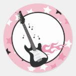 PINK ROCK STAR GUITAR Envelope Seals Round Sticker