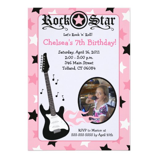 Pink Rock Star Guitar *PHOTO* Birthday 5x7 Custom Announcements