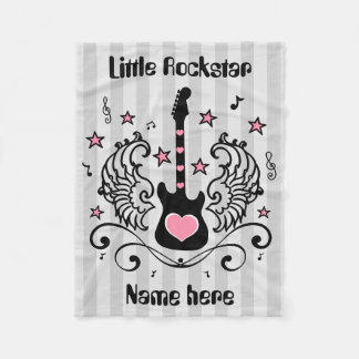 Pink Rock star guitar with wings Fleece Blanket