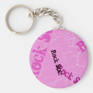 Pink Rock Star Key Ring