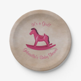 Pink Rocking Horse Baby Shower 7 Inch Paper Plate