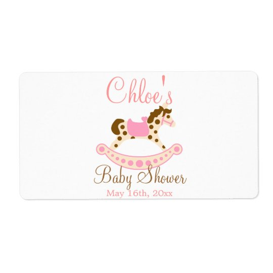 Pink Rocking Horse Baby Shower Water Bottle Label
