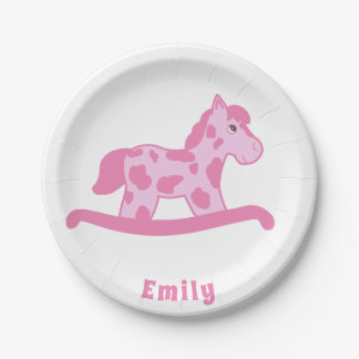 Pink Rocking Horse Birthday Party with Name Paper Plate