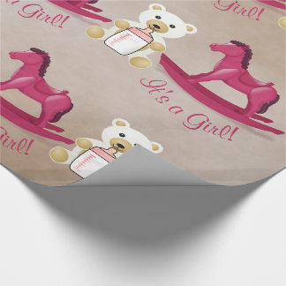 Pink Rocking Horse IT'S A GIRL! Wrapping Paper