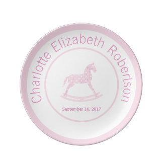 Pink Rocking Horse Keepsake Birthday Plate