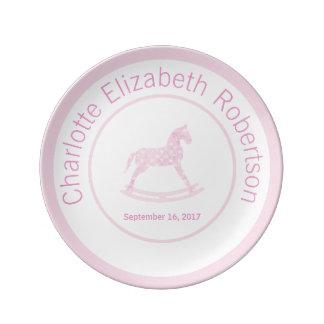 Pink Rocking Horse Keepsake Birthday Plate Porcelain Plates