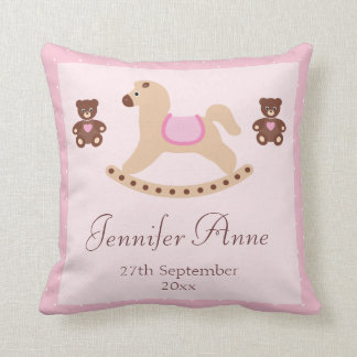 Pink Rocking Horse & Teddies New Baby Cushion