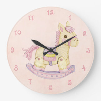 Pink Rocking Horse Wall Clock