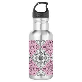 Pink Rococo Pattern Flourish 532 Ml Water Bottle