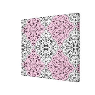 Pink Rococo Pattern Flourish Canvas Print