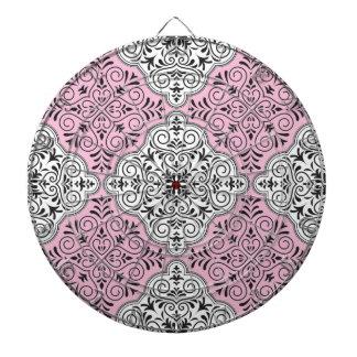 Pink Rococo Pattern Flourish Dartboard