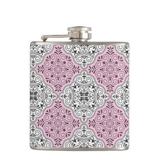 Pink Rococo Pattern Flourish Hip Flask