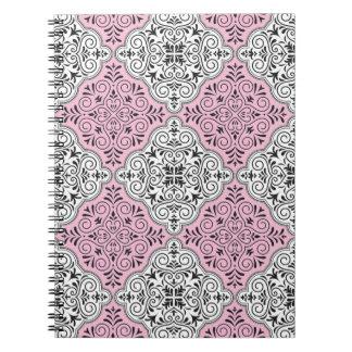 Pink Rococo Pattern Flourish Notebooks