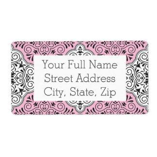 Pink Rococo Pattern Flourish Shipping Label