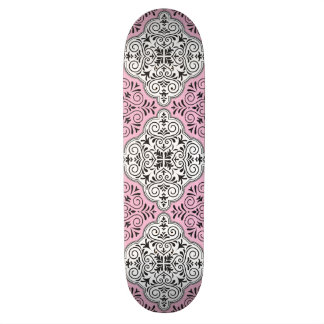 Pink Rococo Pattern Flourish Skateboard Deck