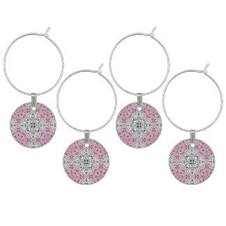 Pink Rococo Pattern Flourish Wine Charm