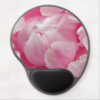 Pink romance blooming peony flower with dew drops gel mouse pad