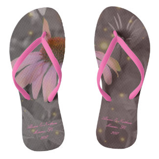 Pink romantic daisy flower flip-flops thongs