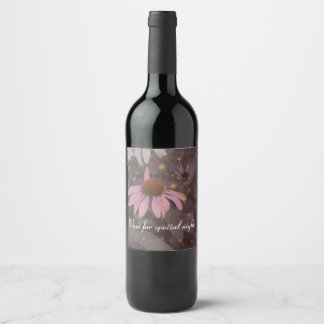 Pink romantic daisy flower wine bottle labels