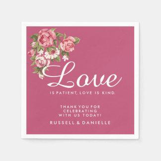 Pink Romantic Rose Wedding Napkins Disposable Napkin