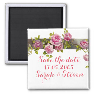 Pink Romantic Roses Save the date Refrigerator Magnets