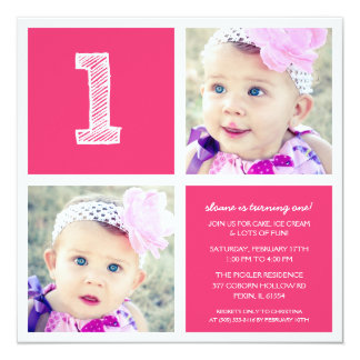 Pink Room for Squares First Birthday Party Photo 13 Cm X 13 Cm Square Invitation Card